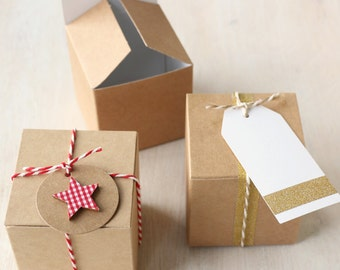 10x Kraft DIY Gift & Favour Box 7.5cm square