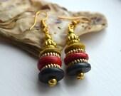 Fun ethnic wood beads colourful handmade indian earrings