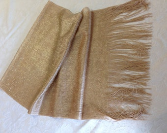 """Gold Beige Sparkly Iridescent Wide Dressy Scarf Shawl 19 x 80"""" Long"""