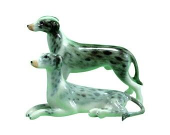 Greyhounds, dog porcelain miniature