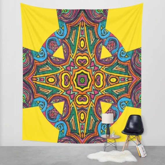 Items similar to colourful celtic cross tapestry indoor for Celtic decorations home