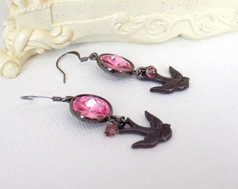 Swarovski Rose Earrings Victorian Rose Earrings  Dangle Earrings  Bird Earrings Pink Earrings Victorian Jewelry Swarovski Jewelry