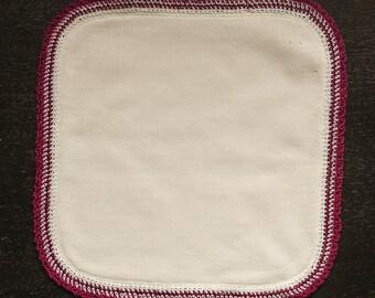 Bamboo Burp Cloth, Cotton Crochet Edged Baby Dribble Cloth, Soft Fleece Backed Organic Bamboo Square, Dark Pink n White Crochet Lace Border