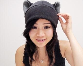 Black Cat Hat - Cat Ears - Cat Toque Hat - Fleece Cat Hat - Cat Hat - Baby Shower Gift - Cat Beanie - Anime Hat - Cat Ear Hat - Cat Cosplay