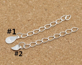 "10 Sterling Silver Extension Chain, Sterling Silver Chain Extension, Sterling Silver Extender Chain Sterling Silver Chain Extender 1.8"" Inch"