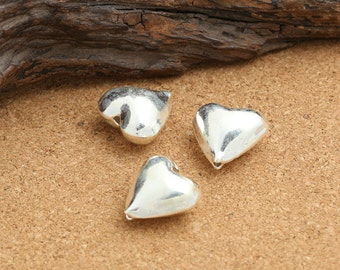 2 Sterling Silver Heart Beads, 925 Sterling Silver Love Heart Beads, Sterling Silver Beads, Sterling Spacer Beads - EZY144