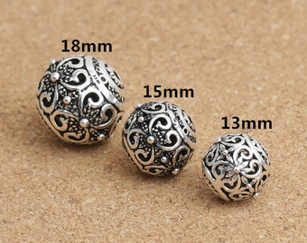 Sterling Silver Butterfly Round Beads, Sterling Silver Ball Beads, 925 Sterling Silver Round Ball Bead, Sterling Bead 13mm 15mm 18mm - NE176