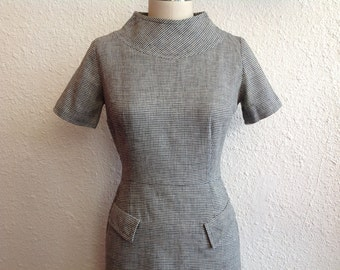 1960s houndstooth wool dress