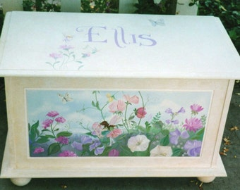 White fairy toy box, hand painted toy box, girls toy box
