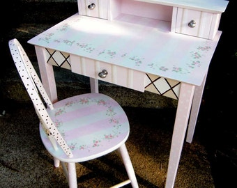 hand painted desk, writing desk, hand painted furniture, girls painted desk, painted furniture