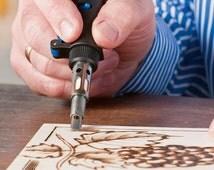 Wood Burning Pen, Butane WoodBurning Set, Pyrography Tool, Leather Craft Drawing Woodburner Detailer Kit, Dremel Versa Tip Soldering Torch