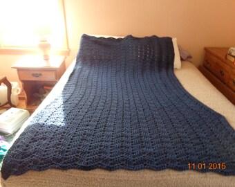 Dark Country Blue crocheted blanket afghan sofa throw