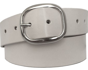 White Leather Belt Strap - Full Grain Leather