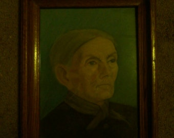 Antique folk art pastel drawing/painting of old woman.