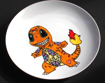 Hand painted ceramic Sugar Skull Charmander plate, Upcycled porcelain, Pokemon, Day of the Dead, Dias de los muertos, made to order