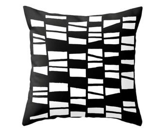Hand drawn pattern pillow cover. Black and white pillow black and white cushion black and white pattern geometric pillow geometric cushion
