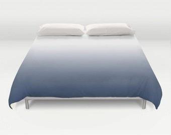 Indigo blue gradient duvet cover. Indigo blue bedding Indigo blue ombre duvet cover dark blue ombre dark blue bedding indigo bedding