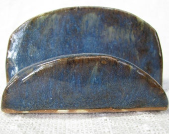 business card holder, desk accessory, pottery business card holder, blue card holder, fun for your desk, clay card holder