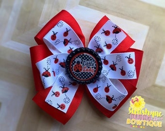 Lady bug hair bow pinwheel bow stacked bow