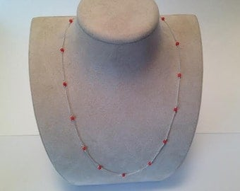 Sterling Silver and Coral Curb Chain Necklace