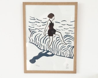 Numbered linocut bather 13/30