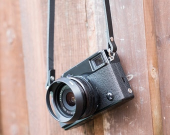 Black Leather Camera Strap ideal for Fuji X Series | Fuji X100 | Olympus OMD | Leica M | Sony A7 | Choice of Size, kamera gurt leder