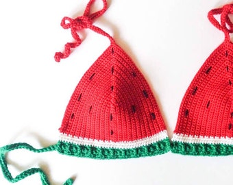crochet watermelon bikini top