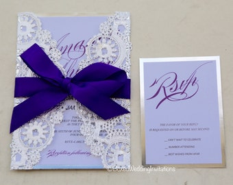Black Tie Invitation Card/ Laser Cut Invitation Card/ Silver Invitation  Card/ Wedding Invitation