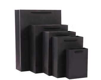 10 x Black Paper Bags with Handle / Kraft Shopping Bags / Weddings / Gift bags / Favor bags  TZ765