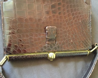 Vintage Brown Alligator Purse Hand Bag