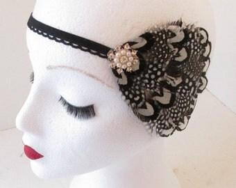 Black & White Vintage Feather Headpiece 1920s Headband Flapper Great Gatsby k87