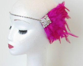 Hot Pink Silver Feather Headpiece Flapper 1920s Vintage Headband Rhinestone Dress Charleston Great Gatsby Headdress Diamante N92