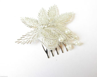 1920s Silver Pearl Vintage Flower Hair Comb Great Gatsby Bridal Headpiece Beaded Headdres Dress Charleston Flapper Wedding Slide R24