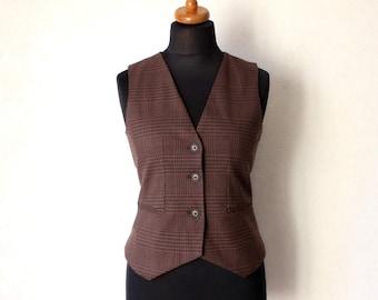 Women's Checkered Vest Brown Beige Black Waistcoat  Medium Size