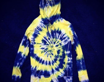 Tie Dye Hoodie - Michigan Hoodie - Maize and Blue Hoodie - Handmade - Michigan Made - 100% Cotton with Draw Strings - Custom - Sizes S-3