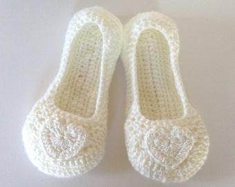 womens Bridal dance slippers. Crochet white heart slippers. Non-slip sole. Wedding slippers. Bridal shower gift.