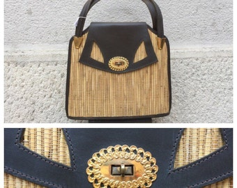 40s Straw and Leather Bag