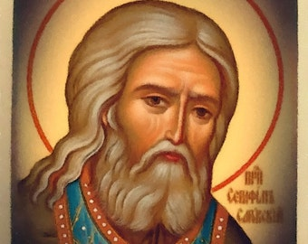"""St. Seraphim of Sarov  orthodox icon hand-painted of hot colors directly on solid wood 18x24x2 см ( 7.0""""x 9.6""""x0.8"""" )"""