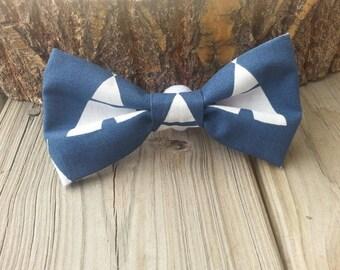 SALE Blue tepee bow tie collar attachment