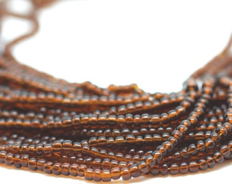 10 Strands Brown Glass Seed Beads
