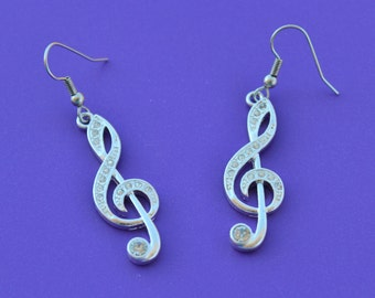TREBLE CLEF EARRINGS,G Clef,Music Note,Piano,Pianist,Clef note,Band,treble clef,music note,musician,1559