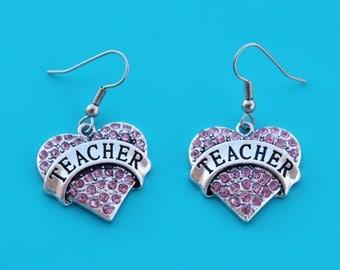 TEACHER HEART EARRINGS,teacher,teach,school,teacher jewelry,i love teaching,1551