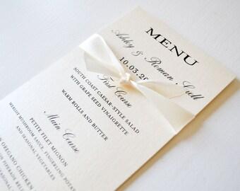 Ivory Wedding Menu/Program Card + Ribbon