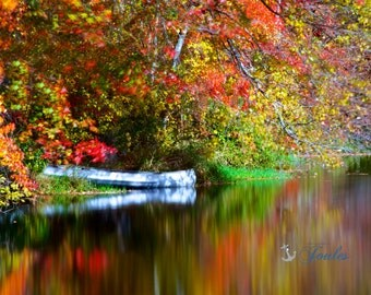 Limited Edition ~ By the River ~Shannock, Rhode Island, Autumn, Fall, Foliage, Fine Art Canvas, New England