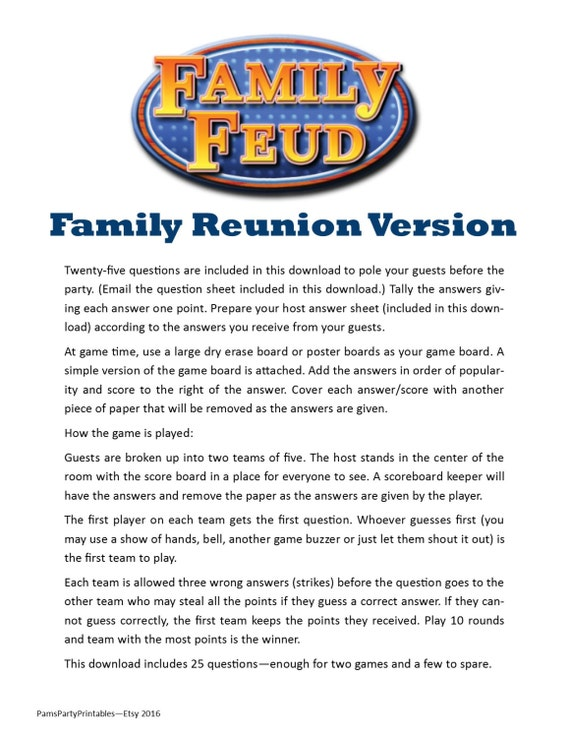 Impertinent image pertaining to printable family reunion games