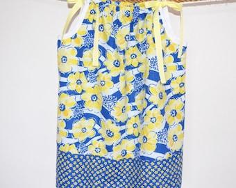 Pillowcase Dress - Girls 4 - Blue and Yellow - Flowers