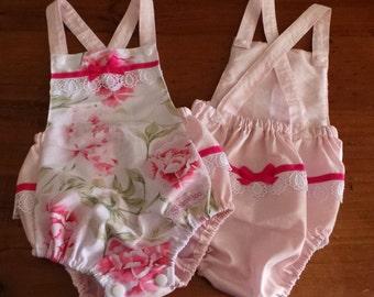 Vintage Playsuit - Pink Roses on White