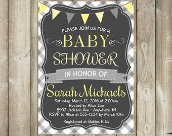 GENDER NEUTRAL BABY Shower Invitation - Yellow and Gray Gingham - Custom - Digital File-