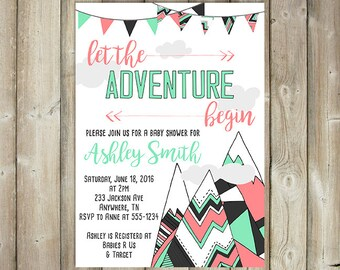 Adventure Baby Shower Invitation - Let the Adventure Begin - Mountains Baby Shower - Mint Coral - DIGITAL FILE