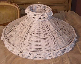 1900's Antique Victorian BARBOLA Gesso Roses Wicker Lamp Shade